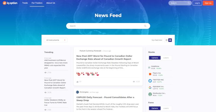 IQoption news feed