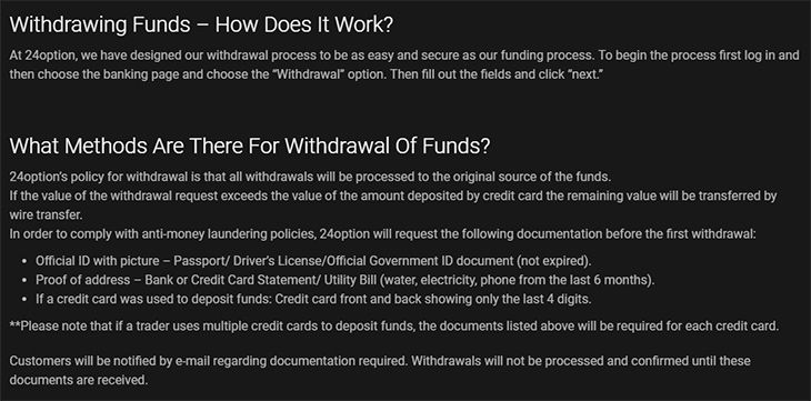 24Option withdrawals