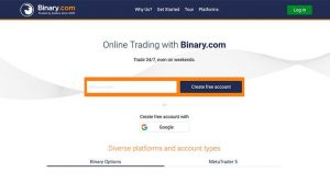 Binary.com main page