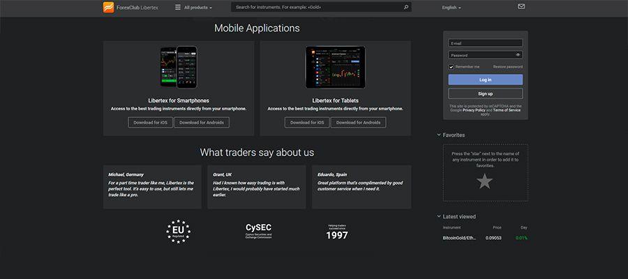 Libertex main page