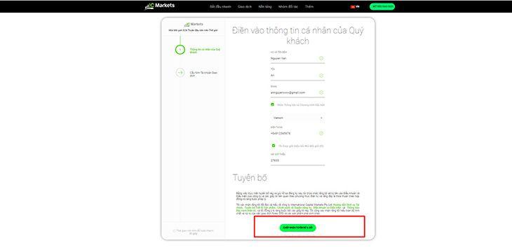 Hướng dẫn mở tài khoản demo bước 2