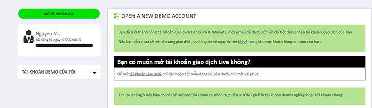 Hướng dẫn mở tài khoản demo bước 4