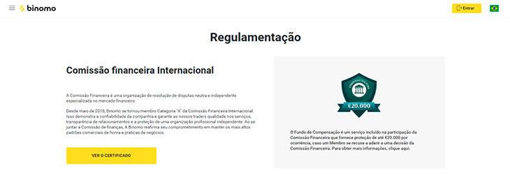 Binomo regulamentação