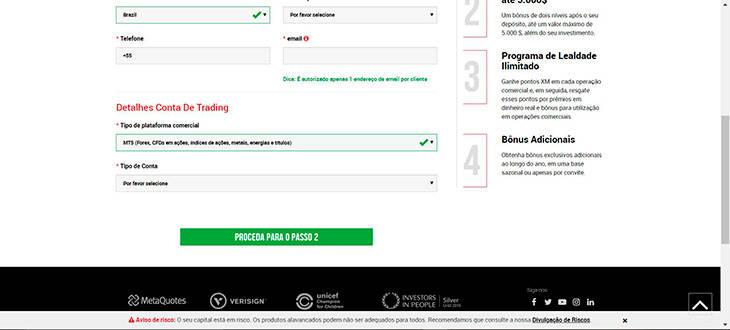 Registrar conta real passo 2