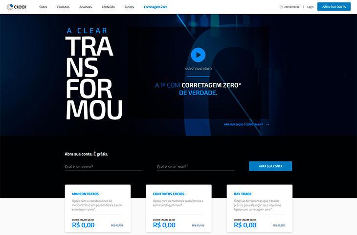 Clear homepage