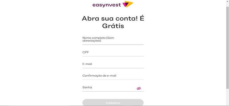 Como se cadastrar à investir com na Easynvest?