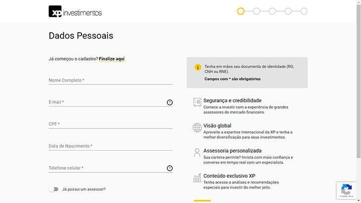 Cadastro de dados pessoais